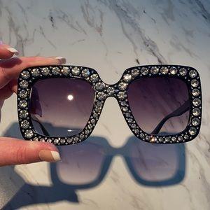 Oversized Rhinestone Sunglasses
